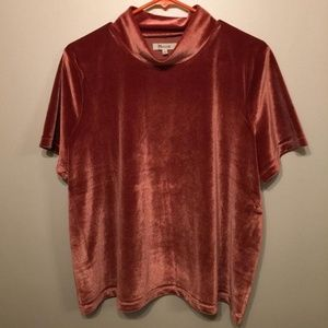 Crushed Velvet mock neck Madewell top